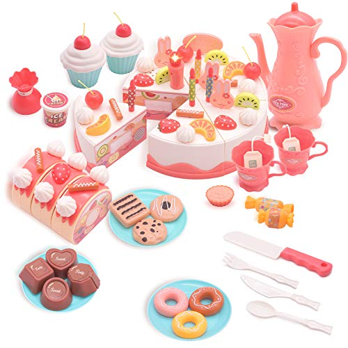 URNKGY Play Food Cutting Birthday Cake Toys with Lights & Sounds Kids Kitchen Accessories DIY Pretend Cake Tea Set for Little Girls Dessert Bread Roll Party Toy for Toddlers(82 PCS)
