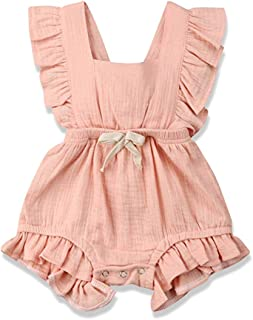 CDZQH Toddler Baby Girl Clothes Onesie Romper Ruffle Long Sleeve One Piece Jumpsuit with Bow 0-24 Months