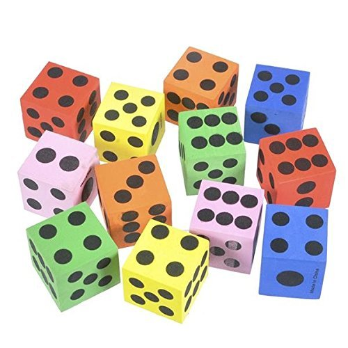 Kicko Foam Dices Assorted Colors - 12 Pack Traditional Style Learning Resources for Math Teaching - Toy, Game, Prize for Kids