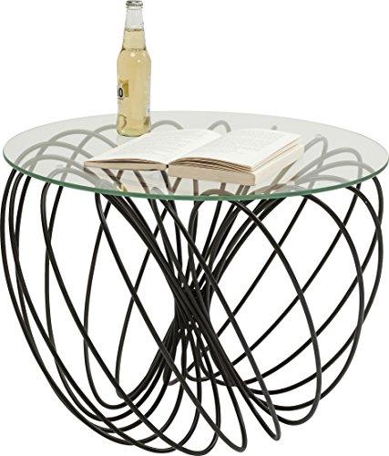 Kare Design Couchtisch Wire Ball, Glastisch rund, Beistelltisch, außergewöhnlicher Kaffeetisch, Tisch mit Stahlgestell, Schwarz (H/B/T) 45x60x60cm