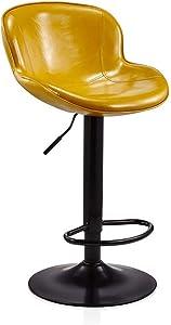 QQXX Barhocker Hochhocker Home Simple Modern Barhocker Vorderstuhl Hochstuhl Barhocker Rückenlehne (3 Farben, kann angehoben und abgesenkt Werden) (Farbe: Gelb)
