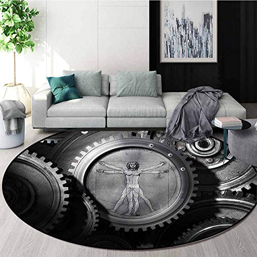 Best Deals! RUGSMAT Industrial Round Rugs for Bedroom,Medieval Old Human Body Living Room Bedroom St...