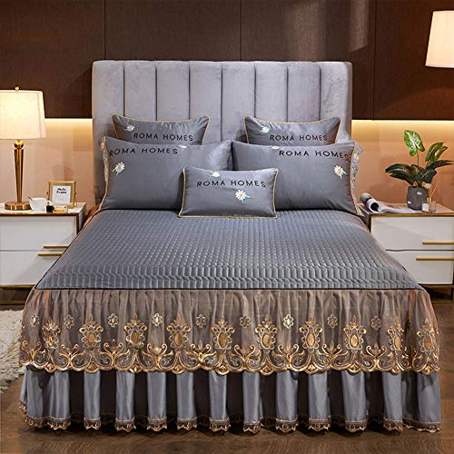 PENGSHAO Cordón Colcha para Cama y sofá Algodón, diseño Trenzado Colcha Cubrecama con 2 Fundas de Almohada para Verano Invierno 48 * 74 cm Colcha,Gris,150 * 200cm