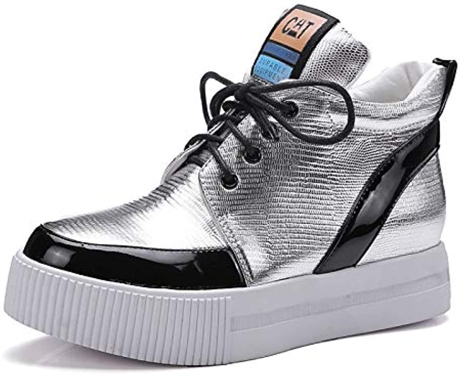Women's shoes Nappa Leather Fall & Winter Comfort Sneakers Platform Silver