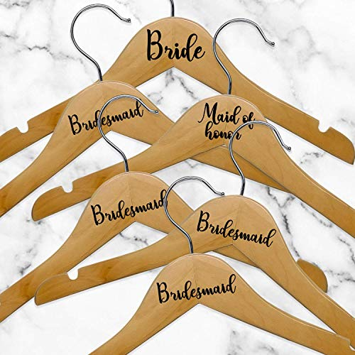 """Set of 6 Vinyl Art Decals - Bride Bridesmaid Maid of Honor - from 0.5"""" to 3"""" Each - Modern Elegant Trendy Chic Wedding Accessory Bridal Clothes Dresses Hanger Decorations (Black)"""