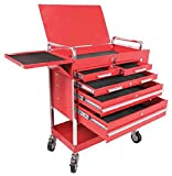 Sunex 8045 Professional 5 Drawer Service Cart with Locking Top- Red