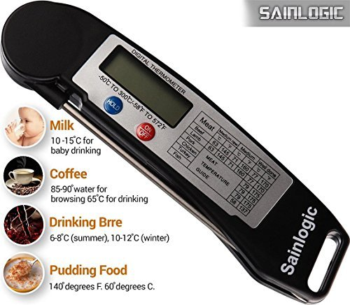 Sainlogic Digital Bratenthermometer Ofenthermometer küchen Einstichthermomete für BBQ,Kochen Küche Lebensmittel Fleisch Milch,Barbecue,alle Lebensmittel,Grill,Candy und Süßigkeiten