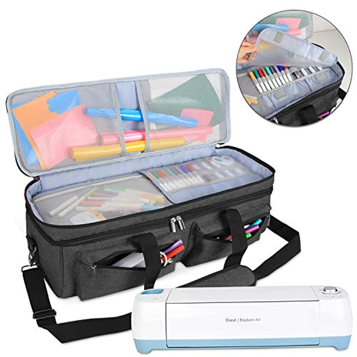 Luxja Double-Layer Bag Compatible with Cricut Explore Air (Air2) and Maker, Carrying Bag Compatible with Cricut Die-Cut Machine and Supplies (Bag Only, Patent Pending), Black
