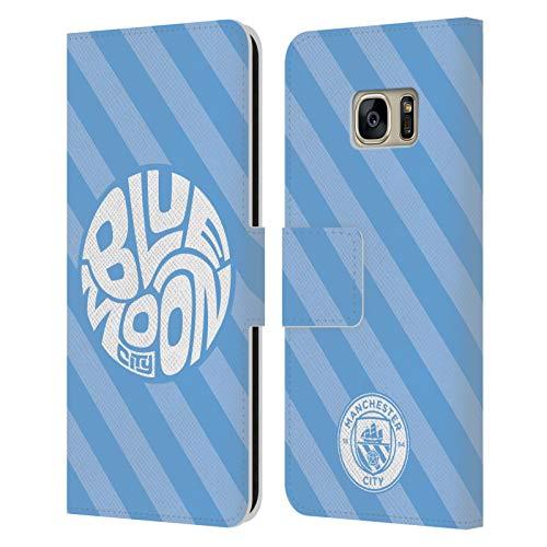 Head Case Designs Licenza Ufficiale Manchester City Man City FC Blue Moon Stripes Pattern Cover in Pelle a Portafoglio Compatibile con Samsung Galaxy S7