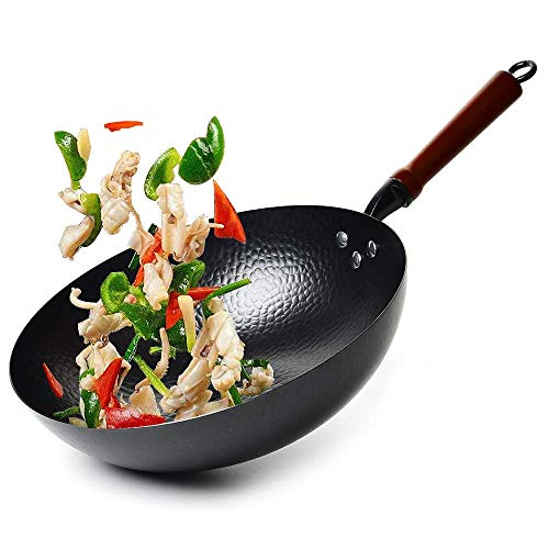 Cooking Wok Pan, Hammered Wok and Stir Fry Pans with Wooden Handle, Frying Wok Carbon Steel Flat Bottom, Chinese Iron Pot for Cooking (12.5 Inch)