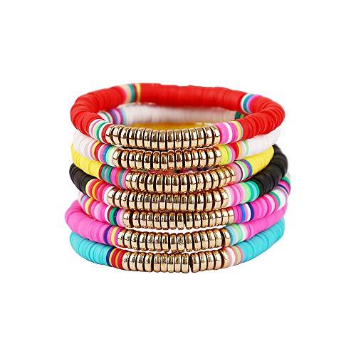 Colorful Heishi Beaded Surfer Bracelet, Vinyl Disc Bead Bracelet, Elastic Rope Surfer Bracelet Set, Summer Fashion Bracelet for Women and Girls (heishi bracelet Set B)