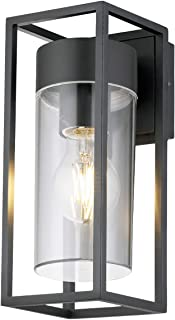 Long Life Lamp Company Outdoor Exterior Modern Garden Wall Light Lantern Clear Diffuser LED Compatible ZLC079, Acrylic, Da...
