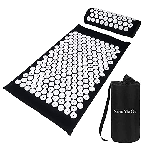 XiaoMaGe Acupressure Mat and Pillow Set with Bag - Large Size 28.7 X 16.5 inch Massage Body Acupuncture Mat - Naturally Relax Back, Neck and Feet Muscles - Stress and Pain Relief (Black)