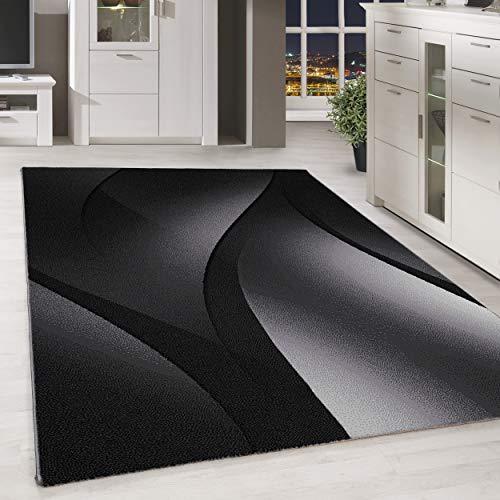 HomebyHome Moderner Kurzflor Teppich Abstrakt Schatten Muster Wohnzimmer Schwarz Grau Meliert, Größe:160x230 cm, Farbe:Schwarz