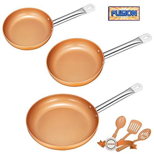 Deik Frying Pan Set, Non-Stick Ceramic Coated Copper Set 8', 9.5' and 11' Induction Compatible, Oven & Dishwasher Safe, Stainless Steel Handles, with 3 Spatula and Spoon