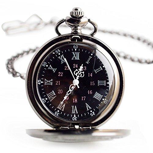 Orologio da tasca al quarzo con orologio da tasca Orologio da tasca classico con orologio al quarzo classico Nero Orologio da tasca in acciaio inossidabile con piccolo orologio da tasca personalizzato