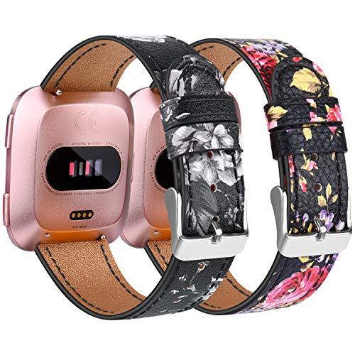 Amzpas Armbänder Kompatibel mit Fitbit Versa 2 Armband/Fitbit Versa Armband, Lederband Ersatzband Modisch Verstellbares für Fitbit Versa & Versa Lite Edition (002 Pink Flower+Grey Flower, One Size)