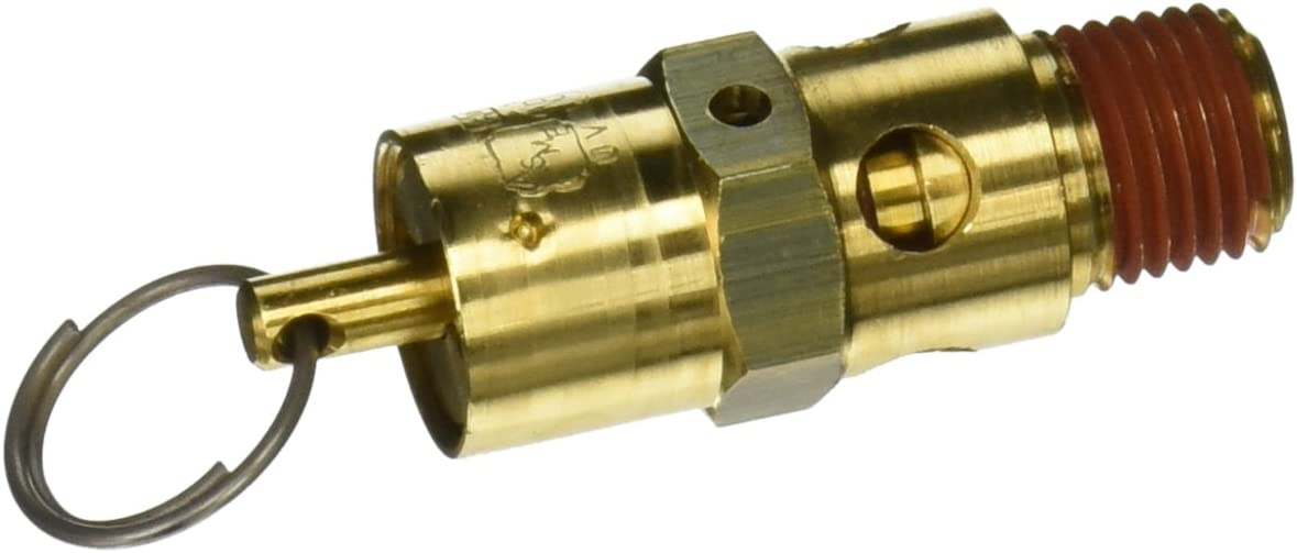 Brass with Stainless Steel Spring and Stainless Steel Ball 350 Degree F Max Temperature 1//4 NPT 1//4 Midwest Control SA25-220 ASME Hard Seat Safety Valve 220 psi