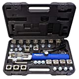 MASTERCOOL 72485-PRC Silver/Blue Universal Hydraulic Flaring Tool (3/8'&1/2' Transmission Cooling Line Die/Adapter Sets Plus Tube Cutter)