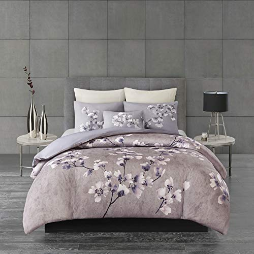 Sakura Blossom 3 Piece Cotton Sateen Printed Comforter Set Lilac King