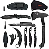 Blade Factory 7pc Tactical Set Full Tang Fixed Blade Knife Spring Assisted Multi Tool Pocket Knife Karambit Claw Knife Tomahawk...
