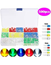 SunTop Diodo LED 500 Piezas LED Diodos, Multicolor Emisores Diffused y Clear Assorted LED Diodos Kit 5 Colores para Arduino de Luz 3mm/5mm (5 Colores)
