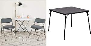 Flash Furniture 2 Pk. Hercules Series Premium Curved Triple Braced & Double Hinged Gray Fabric Metal Folding Chair & Black Folding Card Table