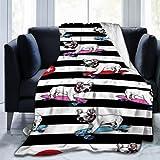 LAVYINGY Depositphotos Stock French Bulldog37 - Manta de forro polar ultra suave, manta para cama, sofá, sala de estar, 60 x 150 cm