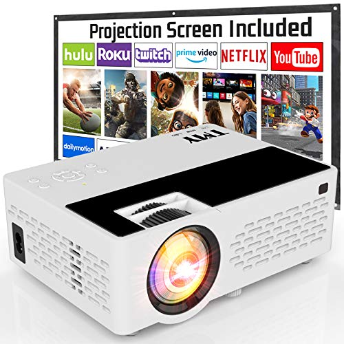 TMY Projector with 100 Inch Projector Screen,...