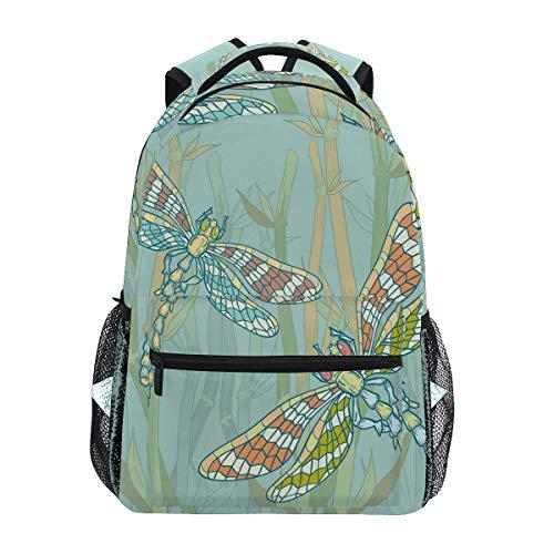 Doodle Style Riesen-Libellen-Figuren Lake Busch Schultasche Rucksack Rucksack Rucksack Große Kapazität Canvas Rucksack Tasche Tasche Casual Reise Daypack für Kinder Erwachsene Teenager Frauen Männer