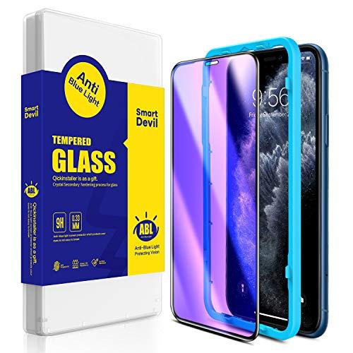 SmartDevil [2 Stück iPhone 11 Panzerglas Schutzfolie,iPhone XR Anti Blaulicht Schutzfilm [mit Installation Werkzeug], 9H Härte, Anti-Kratzen, Anti-Öl,Hülle Freundllich