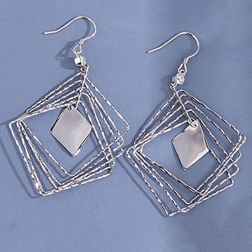 AZPINGPAN Alambre de oreja de Tremella esterlina en forma de diamante hecho a mano, personalidad con incrustaciones de diamantes, pendientes de personalidad simple de moda 925, regalos para damas y ni