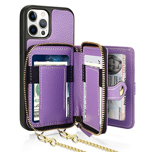 LAMEEKU Wallet Case Compatible with iPhone 12/12 Pro, Card Holder Case with Crossbody Strap Landyard case Bumper Case Compatible with iPhone 12/12 Pro 6.1''-Lavender