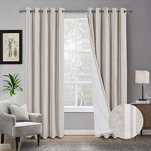 always4u-Thermal-Lined-Thick-Velvet-Chenille-Drapes-for-Preventing-the-Outflow-of-Warm-Air-or-Heat-Indoor-Striped-Luxury-Energy-Saving-Window-Treatment-1-Pair-Champagne-46×54-Inches