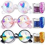 CNNIK 3 Stück Kaleidoskop Brille mit 3 Stück Glitter Pailletten, Mehrfarbenobjektiv Glas...