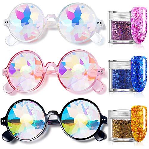 CNNIK 3 Stück Kaleidoskop Brille mit 3 Stück Glitter Pailletten, Mehrfarbenobjektiv Glas kosmetischer Funkeln für Feiertags Festlichkeits Konzert Gesichts Dekoration