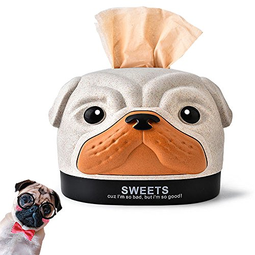 STAR-TOP Cute Cartoon ABS Dog -Shaped Paper Tissue Box Dispenser Case Napkin Holder Home Office Decoration Car Accessory Colors (Dog-Beige)