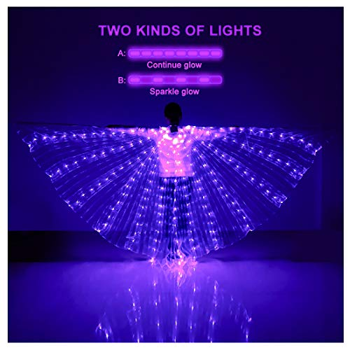 iMucci LED Lights Belly Dance Isis Wings - Bellydance Glow Angel dance Wings with Telescopic Sticks Flexible Rods for Adults and Child Purple