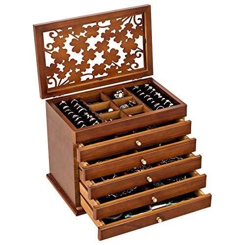 GOPLUS Schmuckschatulle aus Holz, Schmuckkästchen Farbwahl, Schmuckaufbewahrung Schmuckkoffer Kosmetikkoffer 6 Ebenen mit 5 Schubladen (Braun)