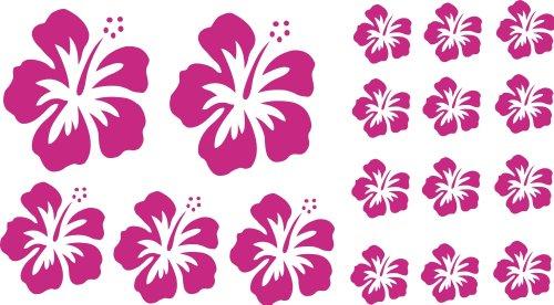 XL Design Set in Pink 17 Stück HIBISKUS Blüten Autoaufkleber selbstklebende Blumen bunte Sticker Outdoor, Wandtattoo & Fensterbild wählen Sie aus 32 Farben!