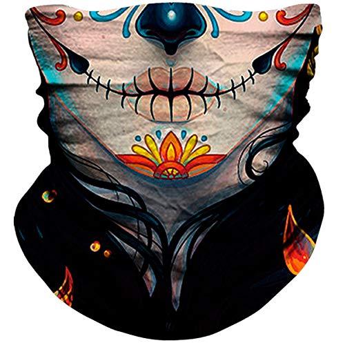 NTBOKW Skull Neck Gaiter Face Mask Bandana for Sun Dust Wind Protection Mask for Riding Motorcycle Cycling Fishing Hunting Summer Seamless Bandana 3D Skeleton Tube Mask for Men Women (Girls Mask 0301)
