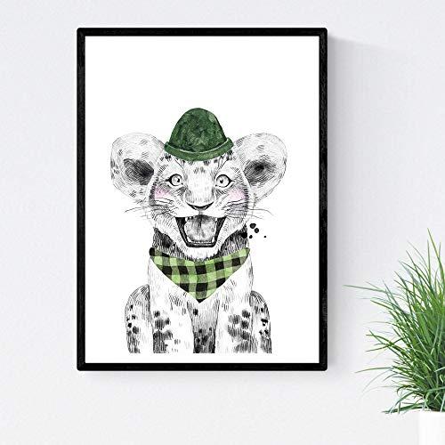 Kinder diahoed en bandana Leon met dieren Kinderposter formaat A3 Frameloos