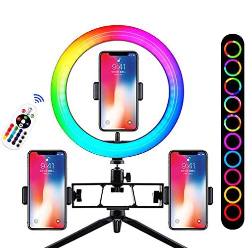 XCUGK Anillo de luz LED Aro de Luz RGB 18 Colores RGB y 9 Modos Normales y 3 de Brillo con Trípode de Sobremesa y 3 Soportes Teléfono Móvil para Selfie Transmisión Maquillaje Vlog Webcam