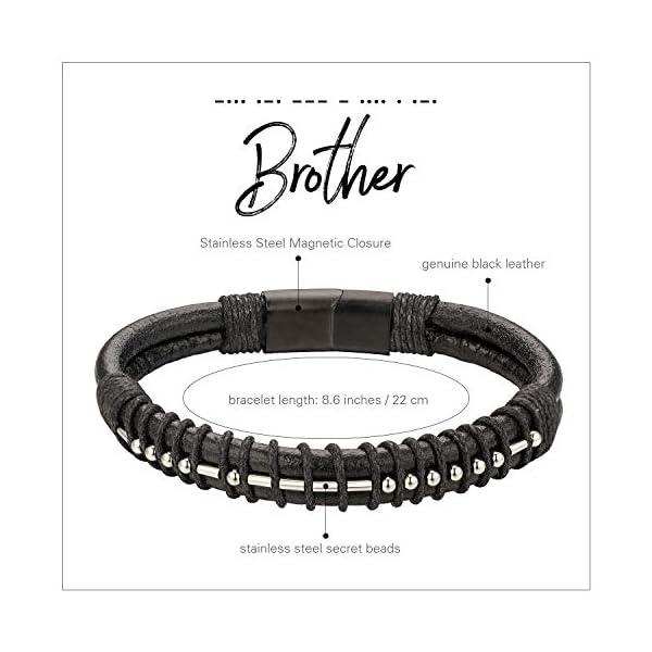 Brother Morse Code Mens Leather Bracelet 2