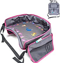 Moditty | Kids Travel Tray Bundle with Back Seat Car Organizer | Car Seat Lap Tray for Toddlers to Play and Snack in Car Seats, Airplanes, Strollers (Pink)