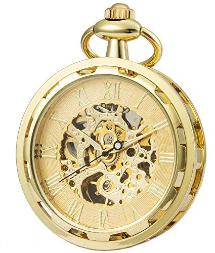 SEWOR Nuevo diseño único Cara mecánica Mano Viento Reloj de Bolsillo Completo Oro Tono (Oro)