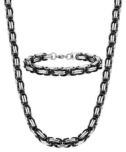 sailimue 8MM Acero Inoxidable Collar y Pulsera para Hombre Cadena Bizantina Collar Gotico Biker Negro, 56cm