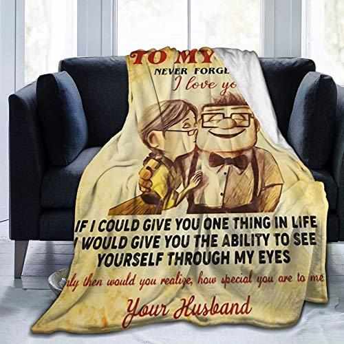 "TS HOME ART Blanket to My Wife I Love You Fleece Blanket Ultra Soft Comfy Velvet Blanket All Season Premium Throw Blanket Durable Cozy Warm Sofa Blanket for Men Women Kids 50""x40"""