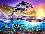 JiaHome 5D Kit de taladro completo de pintura de diamante, Diamante de imitación de delfín DIY, bordado de punto de cruz, artesanía, kits de bordado para decoración del hogar, 30 x 40 cm