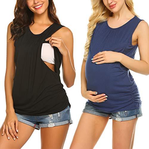 Unibelle Damen Stillshirt 2er Pack still Umstand top Shirt umstandstop